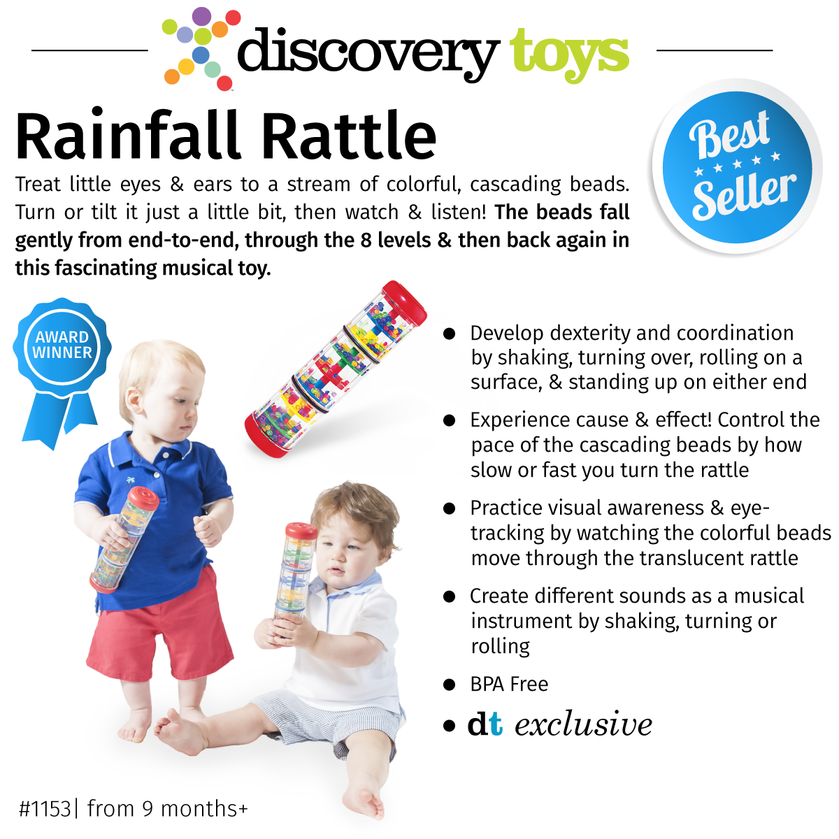 Discovery Toys has a number of wonderful musical products to help ignite and strengthen connections in a young brain and to inspire a young soul. Chiming Charlie, Sensory Sights, Rockin' Roller, and Stack Roll & Jingle can all produce a chime or jingle sound.
