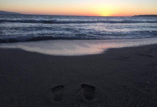 Footprints on the beach!