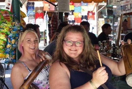 Trip Achievers Melinda & Kelli at the Market